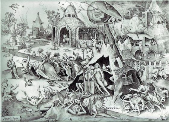 Bruegel the Elder, Pieter: The Seven Deadly Sins - Lust. Fine Art Print/Poster. Sizes: A4/A3/A2/A1 (00870)